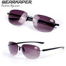 SR14001 Patented Sun Readers Rimless Bifocal Sunglasses Reading Glasses Men and Women 100 150 200 250