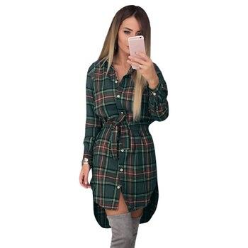 c1dac96dde873f3 Женские блузки, клетчатые рубашки с длинными рукавами, рубашка с отложным  воротником, Повседневная Туника, женские асимметричные блузки, бо.