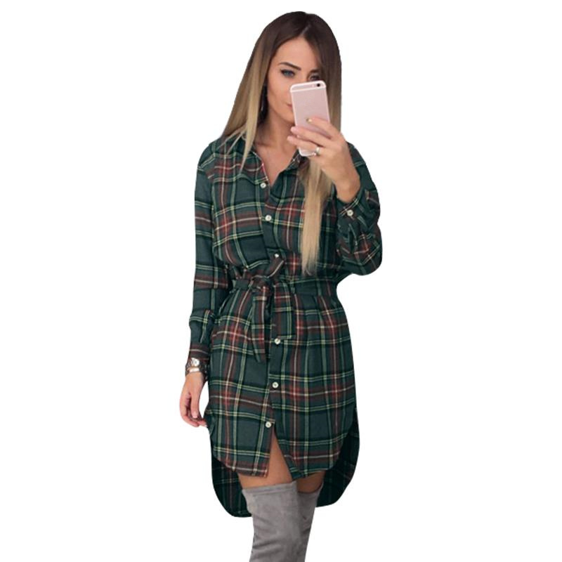 Kvinner Bluser Long Sleeve Plaid Skjorter Turn Down Collar Shirt Casual Tunika Feminine Uregelmessige Bluser Plus Size Topper LJ5932M