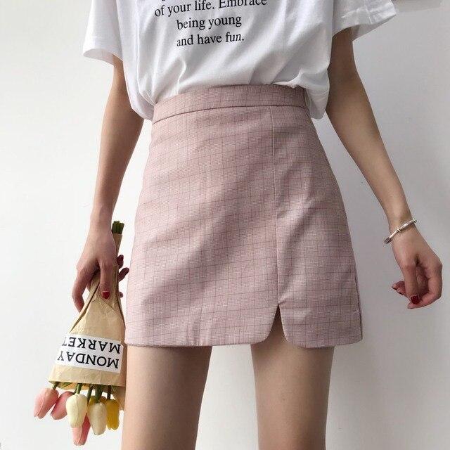 a13c33be97d Spring Autumn Irregular Skirts Women Vintage High Waist Plaid Slit Skirt  Fashion All-Matched Mini saias Femme 1233