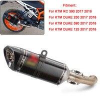 For KTM DUKE 125 250 390 Duke RC 390 RC390 2017 2018 Real Carbon Fiber Stainless Steel Exhaust Muffler Mid Middle Pipe Slip on