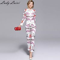 2019 New Fashion Runway Chain Printed 2 Piece Suit Sets Bow Collar Full Sleeve Shirt Top + Belt Pencil Pants Sets For Women