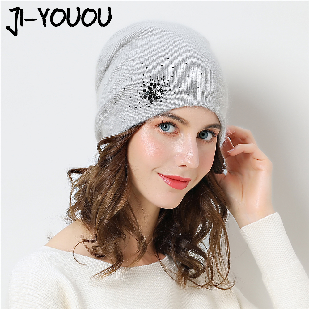 Winter Skullies Beanies knitted hats for women warm lining rhinestons beanies hat female brand new good quality angora wool caps