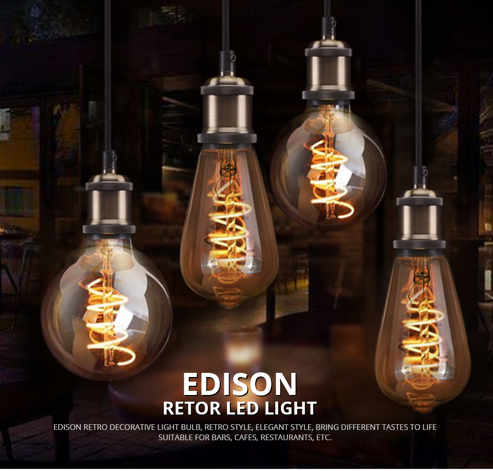 A60 ST64 G80 G95 Spiral LED Lamp Light Bulb LED Filament Bulb (1)