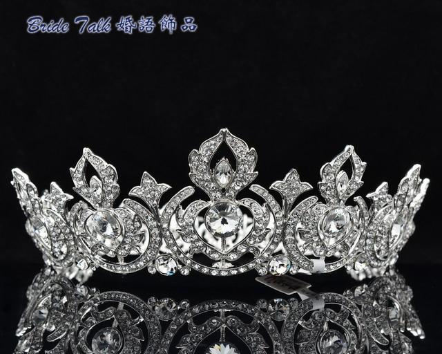 Brand New Flower Tiara Crown Head Pieces Rhinestone Women's Prom Wedding Jewelry 8642 Free Shipping