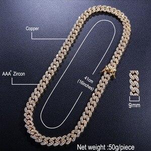 Image 2 - Uwin 9 Mm Micro Pave Iced Cz Cubaanse Link Kettingen Kettingen Goud Kleur Luxe Bling Bling Sieraden Mode Hiphop Voor mannen