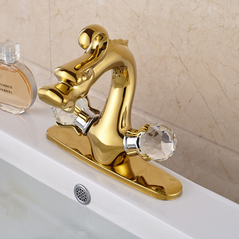 Double Crystal Handle Countertop Sink Faucet for Bathroom with 8 ...