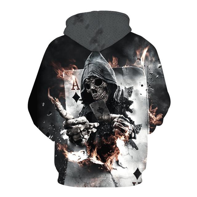 TUNSECHY 2018 Spring Autumn Thin Hooded Hoodies Men/women 3d Sweatshirts With Cap Print Wizard Clown Oil Printing Hoody Hoodies