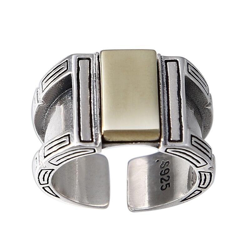 Nouveaux anneaux de mode pour hommes 925 bijoux en argent sterling vintage personnalité exagération bloc anneau ouvert taille réglable