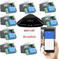 Broadlink rm pro + 12 receptor, iphone/android wifi + rf, 1 canal interruptor de control remoto inalámbrico sistema de casa inteligente