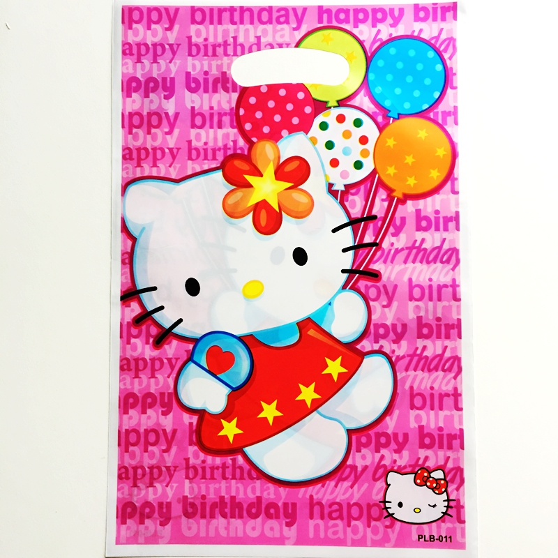 New 10pcs Cartoon Hello Kitty Cat theme Party Gift Bags Child Cute Birthday Party Wedding decor Candy Dessert Plastic Gift Bag