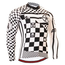 цена на 100% Polyester Balck/White Grid Pro Long Sleeve Cycling Clothing Ropa Ciclismo Men's Winter Autumn Riding Bike Jerseys For MTB
