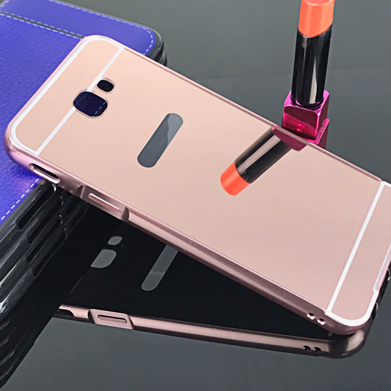 buy online 794f2 6a971 US $2.62 20% OFF|NEW! Luxury Rose Gold Mirror Case For Samsung Galaxy J7  Prime Metal Frame Case Cover For Samsung J7 Prime On7 2016 5.5