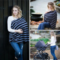 Happy Mommy Full Coverage Cotton Blend Infinity Nursing Scarf and Cover with Stylish Gray & White Chevron Pattern