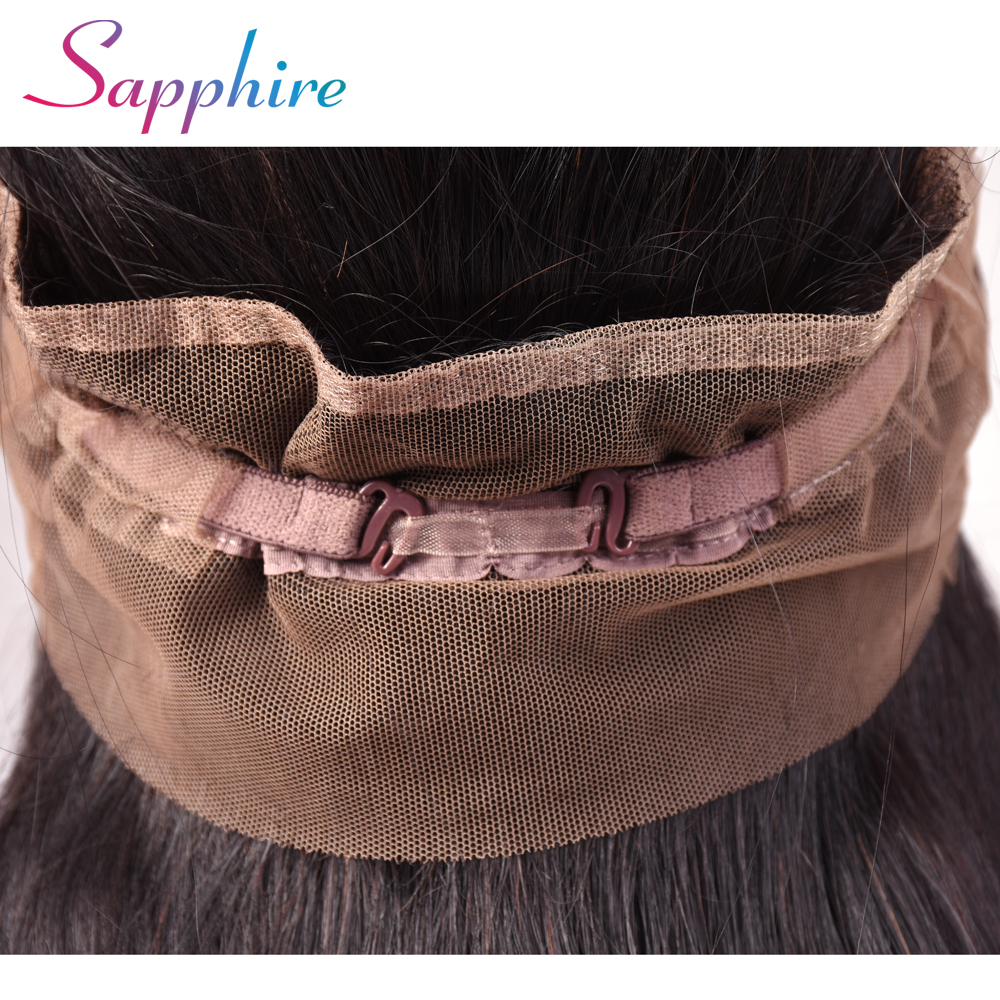 Sapphire  Peruvian Straight Hair 360 Lace Frontal Closure With Baby Hair 100% Human Hair Free Part No Shedding Free Shipping