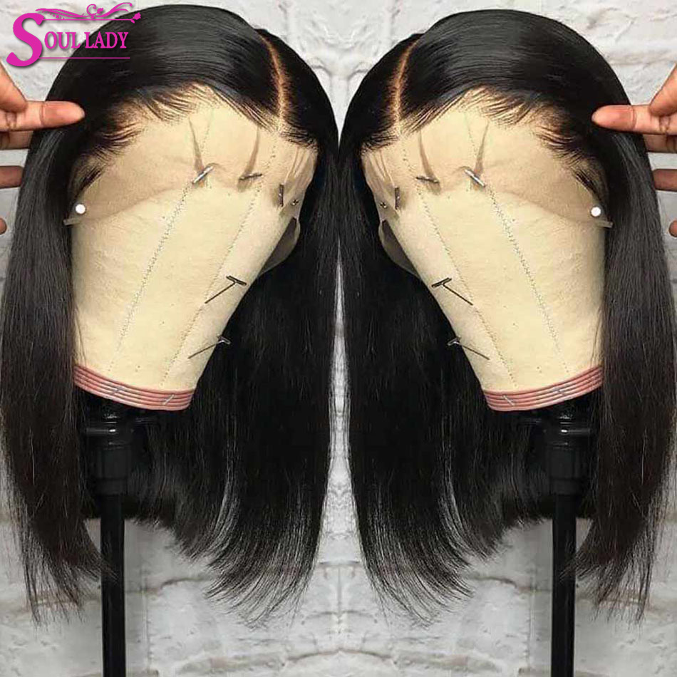 Soul Lady Bob Lace Front Human Hair Wigs Remy Malaysian Straight Hair Short Human Hair Wigs Blunt Cut Bob Wigs For Black Women