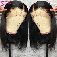 Soul lady Bob Lace Front Human Hair Wigs Remy Malaysian Straight Hair Short Human Hair Wigs Blunt Cut Bob Wigs For Black Women
