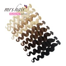"MRS HAIR Body Wave U Tip Hair Extensions 20"" Keratin Hair On Capsule Machine Made Remy Fusion Nail Hair Blonde 1g Strand 50pcs(China)"