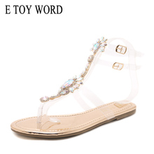 E TOY WORD Rhinestone Sandals Women's Summer Shoes Bohemian Roman Sandals Casual Beach Sandals Buckle Strap Flat Crystal Shoes bohemian sandals for women wedge shoes crystal decoration grey army green shoes ladies cute casual shoes rhinestone sandals
