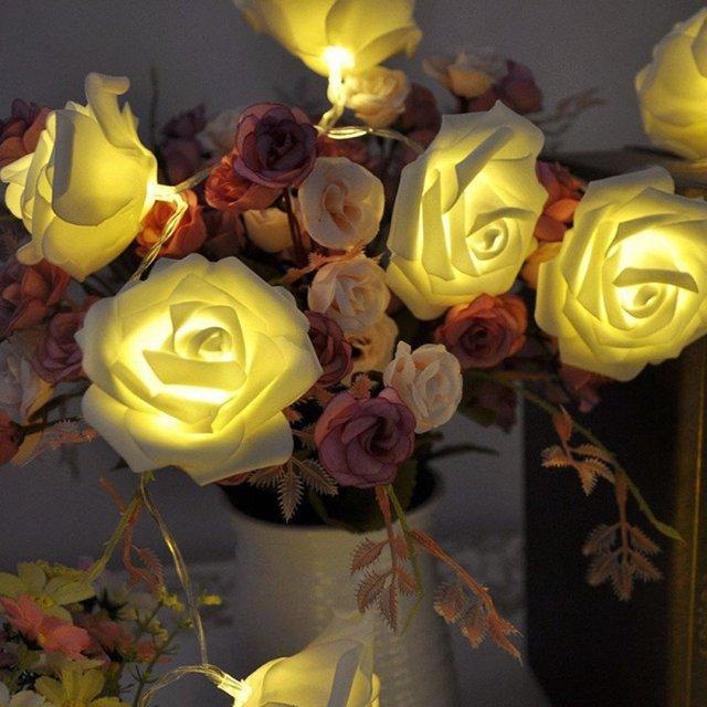 Party Decor Kunstbloemen LED Rose Flower Fairy Lichtslingers ...