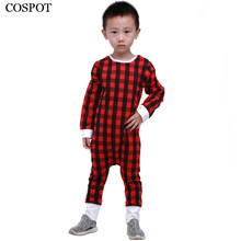 COSPOT Baby Girls Boys Christmas Romper Newborn Infant Red Plaid Pajamas Girl Autumn Cotton Jumpsuit Toddler Jumper 2017 New 35C