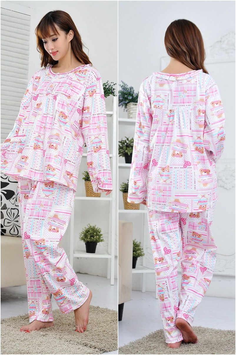 XL-5XL נשים פיג 'מה גדול גודל חורף כותנה פיג' מות ארוכות שרוול אביב סתיו פיג 'מה בגדי בית לנשים pyjama femme Q582