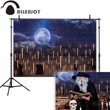 Allenjoy photography background Halloween hall magic moon night sky backdrop photo shoot prop photobooth portrait fabric
