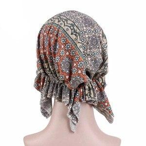 Image 3 - חדש מוסלמי נשים פרחוני למתוח כותנה צעיף טורבן כובע חמו בימס כובעי ראש גלישת בארה לסרטן שיער אובדן אביזרים