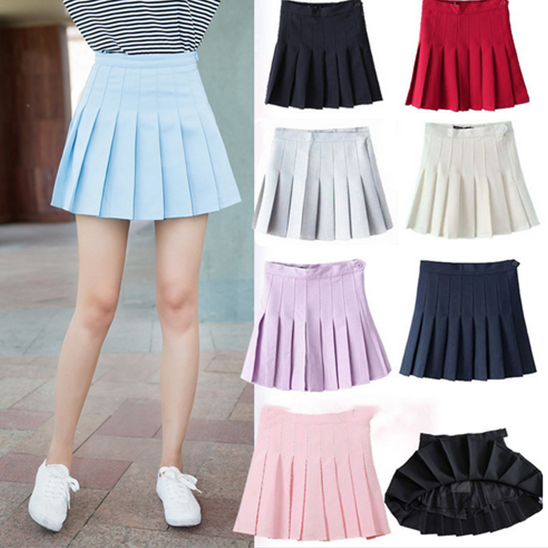 Top Sell Women Lady Cute High Waist Plain Skater Flared Pleated Short Mini Skirt Shorts High Quality Comfortable