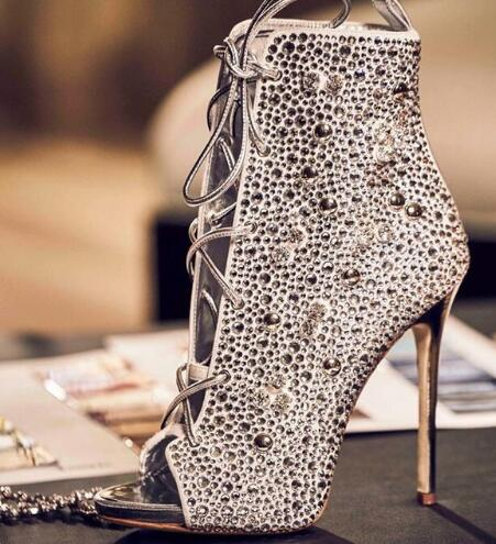 Luxury Champagne Crystal Embellished Peep-toe Women Ankle Boots Thin High Heel Crystal Lace up Boot Sexy Gladiator Sandal Boots denim blue thin heels boots new fashion bling bling crystal embellished high heel boots sexy pointed toe lace up ankle boots