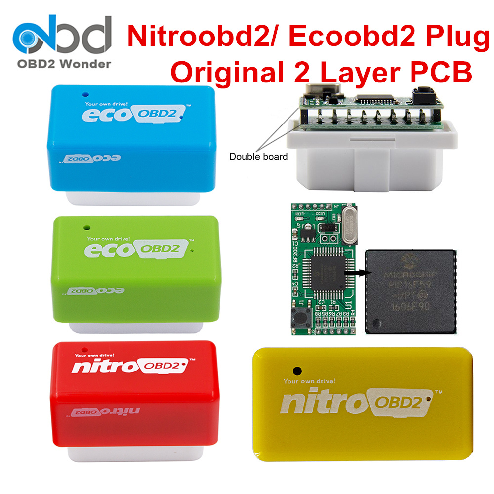2 Layer PCB NITROOBD2 ECOOBD2 Chip Tuning Box ECO OBD2 Nitro OBD2 Original Plug Gasoline Diesel More Power Torque Save Fuel