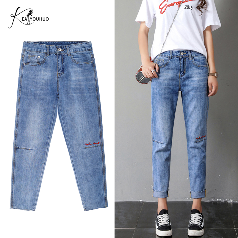 2019 Summer   Jeans   For Women Hot High Waist   Jeans   Solid Wash Boyfriend Female Stretch Pencil Pants   Jeans   Woman Plus Size Women