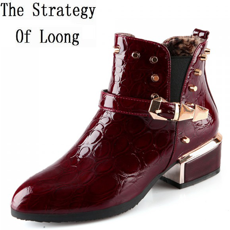 Women Spring Autumn Thick Mid Heel Patent Leather Rivets Buckle Pointed Toe Fashion Martin Ankle Boots Size 34-39 SXQ0731 women spring autumn thick mid heel genuine leather rivets back zipper round toe fashion mid calf boots size 34 39 sxq0818