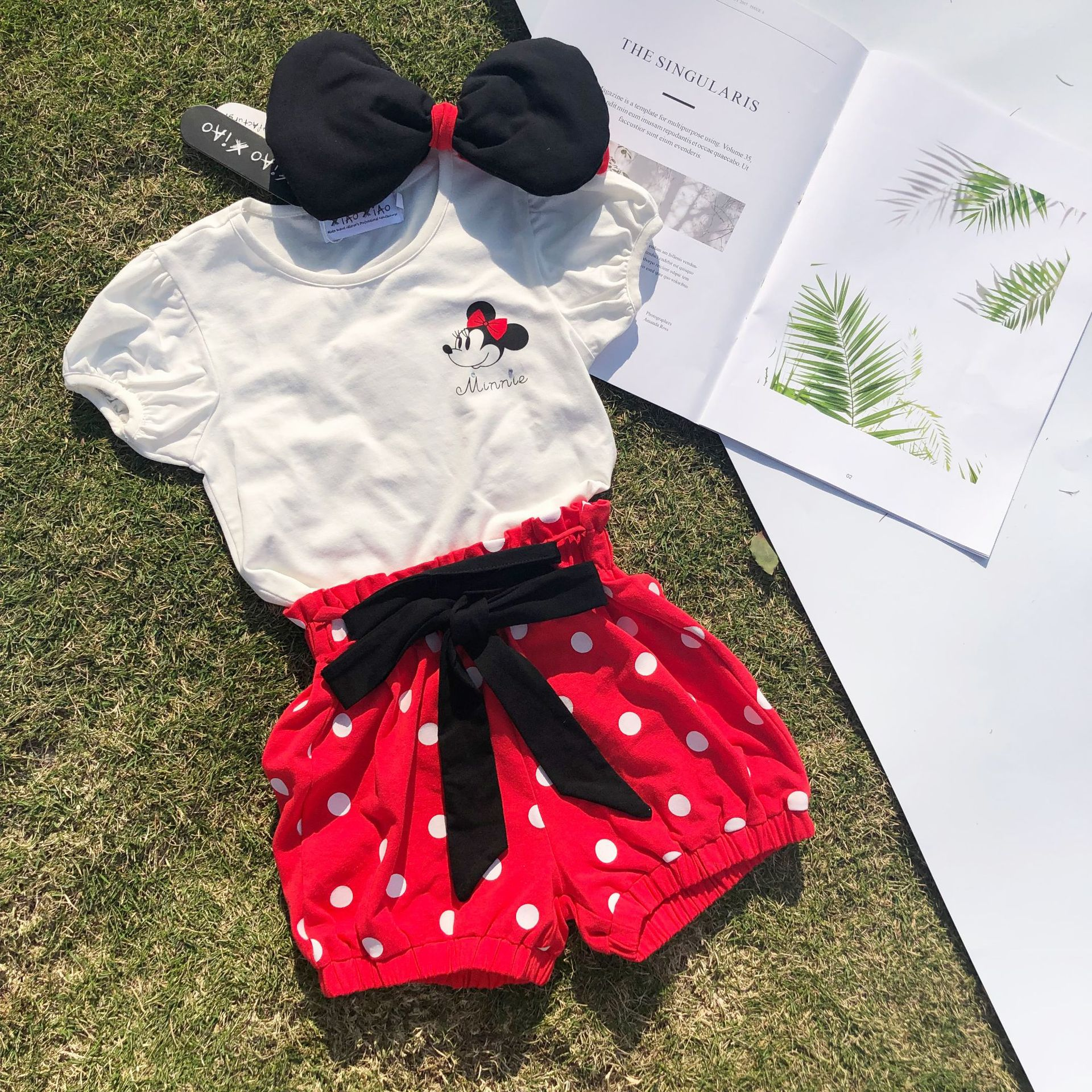 Disney <font><b>Baby</b></font> Girls Clothes Cute Minnie Casual <font><b>Sets</b></font> Summer <font><b>Baby</b></font> Girls White Tops Red Shorts Kids Clothes <font><b>tshirts</b></font> Shorts image