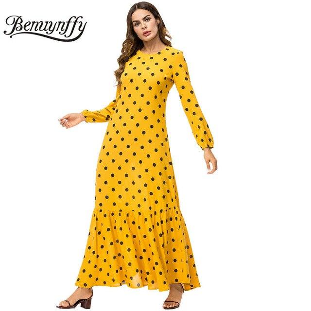 134c059960c Benuynffy Autumn winter Women Elegant Polka Dot Long Maxi Dress 2018 New  Arrival Ladies Casual O-neck Pleated A Line Dress