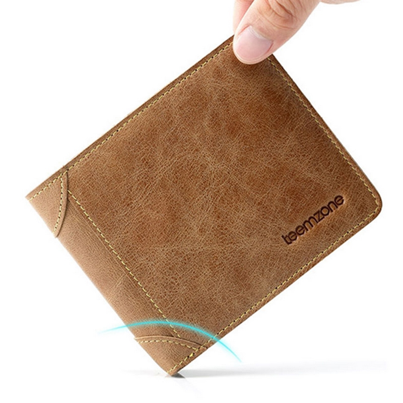 Teemzone Genuine Leather Men Short Wallet For Crdeit Cards Slim Card Holder Women Purse Brief Brand Lovers Wallet Cowleather J50