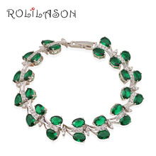 Luxury Brand design shining Bracelets for women Green crystal &AAA zirconia Silver filled Fashion jewelry TB539