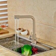 Euro Style Deck Montiert Khika Farbe Küchenarmatur Doppel Griffe Mischbatterie Schwenkauslauf