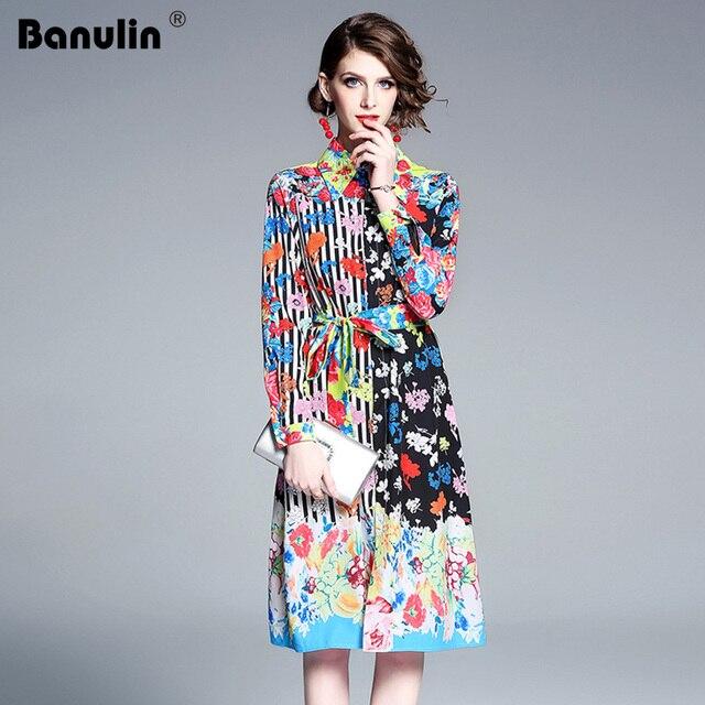 1614351be03 Banulin 2019 Frühling Designer Runway Kleid Frauen Fashion Langarm Blumen  Druck Striped Beiläufige Hemd Kleid Partei Vestidos