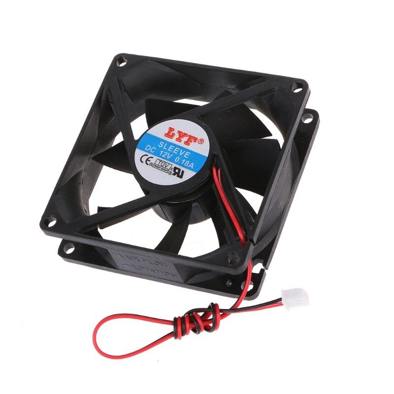 12 V 2-Pin 80x80x25mm PC Ordinateur CPU Système Radiateur Brushless Ventilateur De Refroidissement 8025