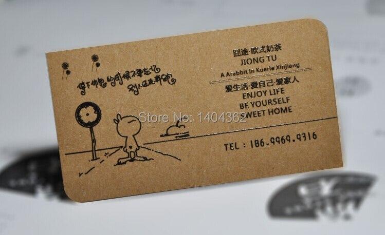 Livraison Gratuite Personnalis 500 Pcs Spcialit Papier 350g Kraft Cartes De Visite Carte Impression Dans