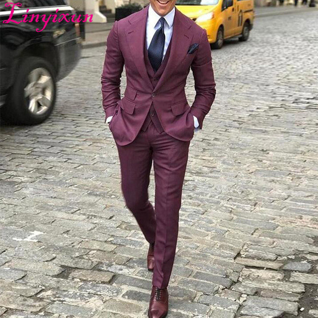 Linyixun Mens Suits Designers 2018 Burgundy Notched Lapel Men's Suit Set Button Slim Fit Wedding Tuxedos Custom Made Blazer