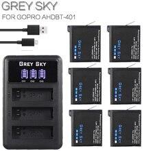 4 шт. 1680 мАч Gopro Hero 4 Батарея запасная часть + светодиодный 3-слоты USB Зарядное устройство для GoPro HERO4 GoPro AHDBT-401 действие батарея для камеры