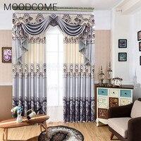 New Style European Style Garden Velvet Linen Print Curtain Living Room Bedroom Window Screening E