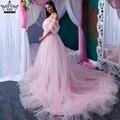 Romántico Rosa Tren Largo Embarazada Fotografía Vestido de Novia vestido de Novia Vestido de Volantes Vestidos De Novia Más El Tamaño de la Foto 2017 SHE2