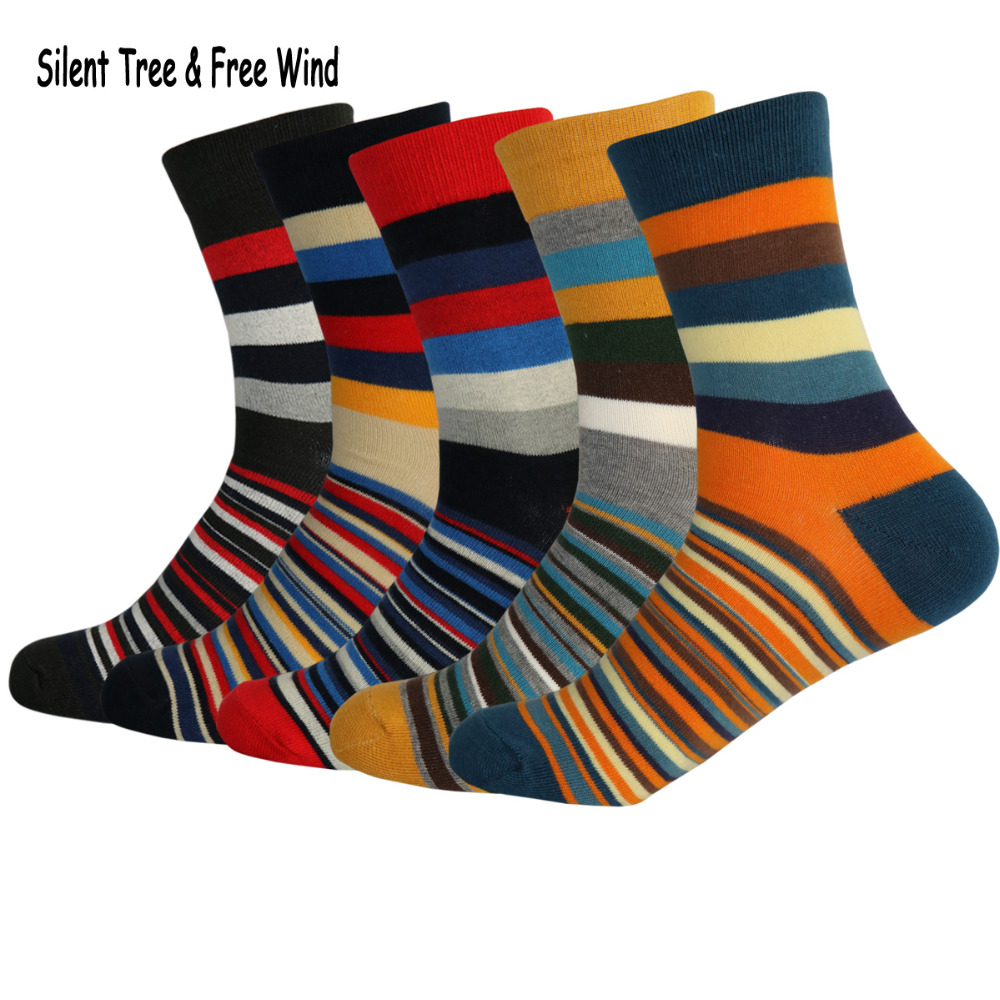 Mens Happy Colorful Striped Business Cotton Socks Fashion Men Stripes Comfortable Breathable Dress Casual Crew Sock EU 38-43