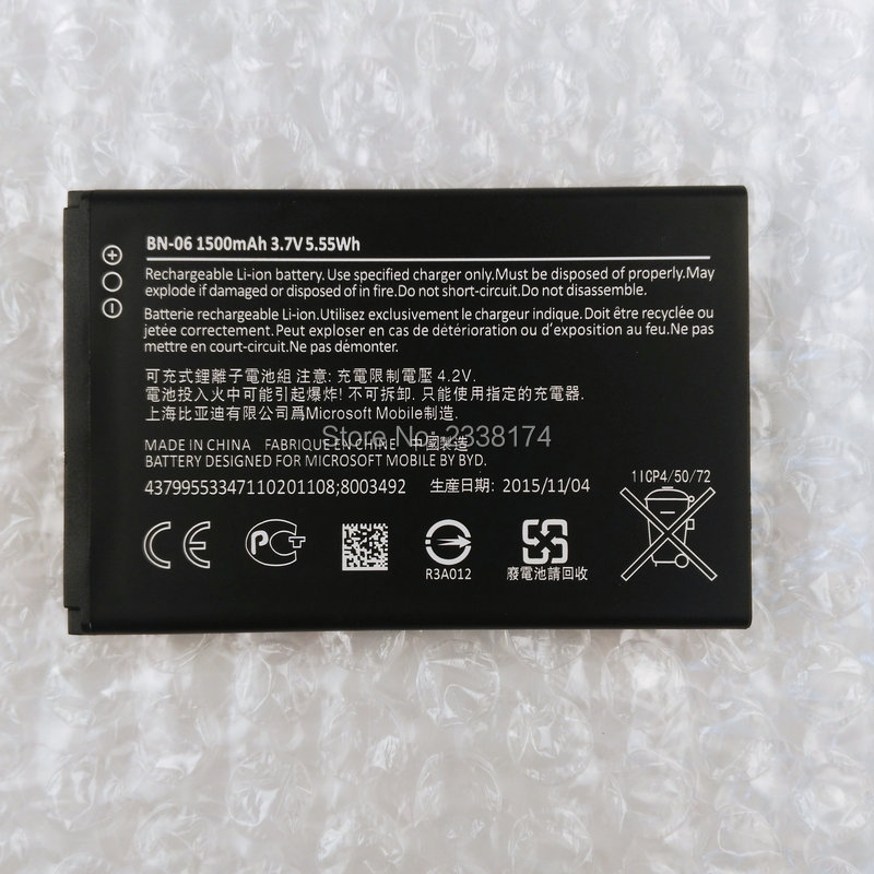 1pcs 100% high quality BN-06 1500mAh Battery For Microsoft Lumia 430 Mobile phone Freeshipping+Tracking Code