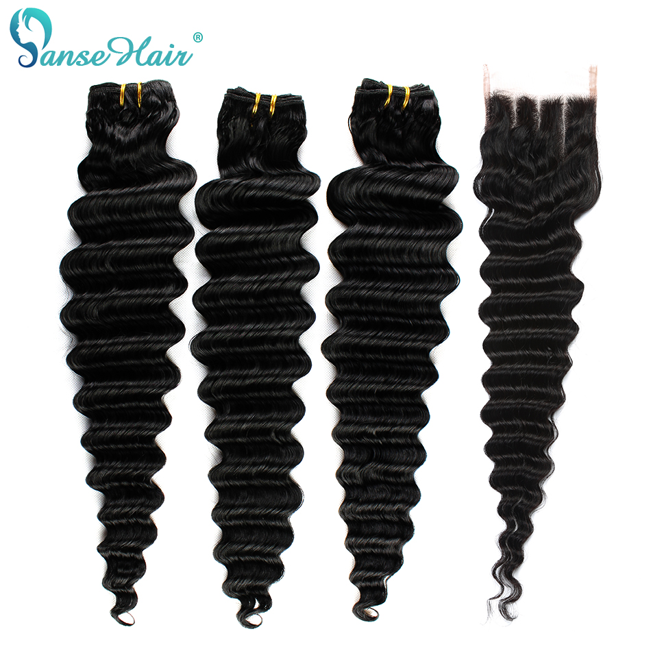 Panse Hair 3 Bundles Deep Wave Hair With Closure Natural Black Indian Non Remy Hair Bundles 4*4 Swiss Lace Closure Free Shipping