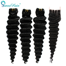 Panse Hair Bundles Closure Deep-Wave Non-Remy-Hair Indian with Natural-Black 4--4 Swiss