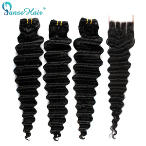 Panse Hair 3 Bundles Deep Wave Hair With Closure Natural Black Indian Non-Remy Hair Bundles 4*4 Swiss Lace Closure Free Shipping